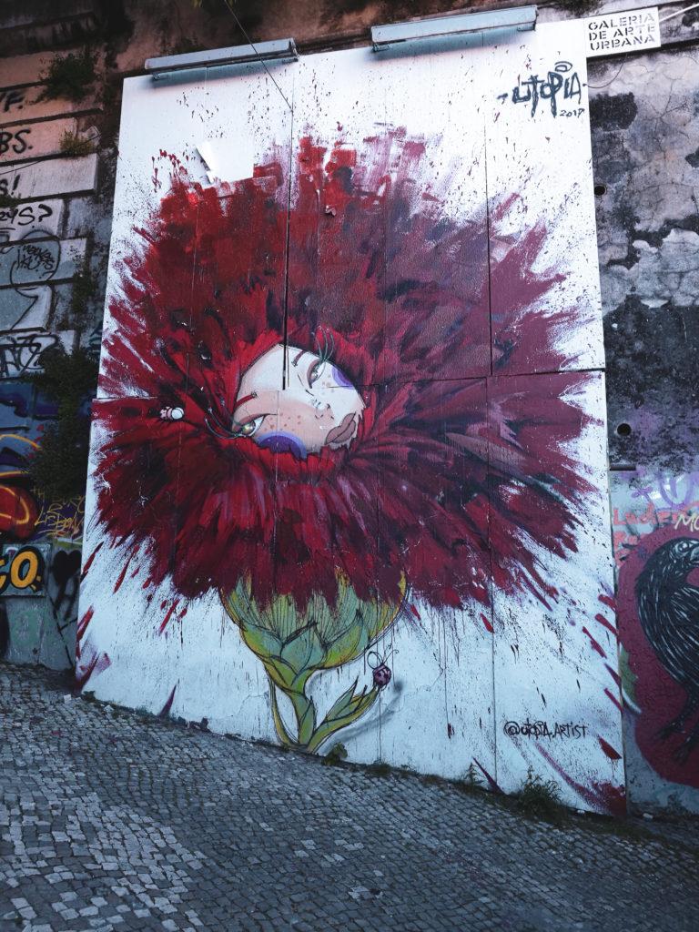 centre-ville-lisbonne-blog street art fille fleur