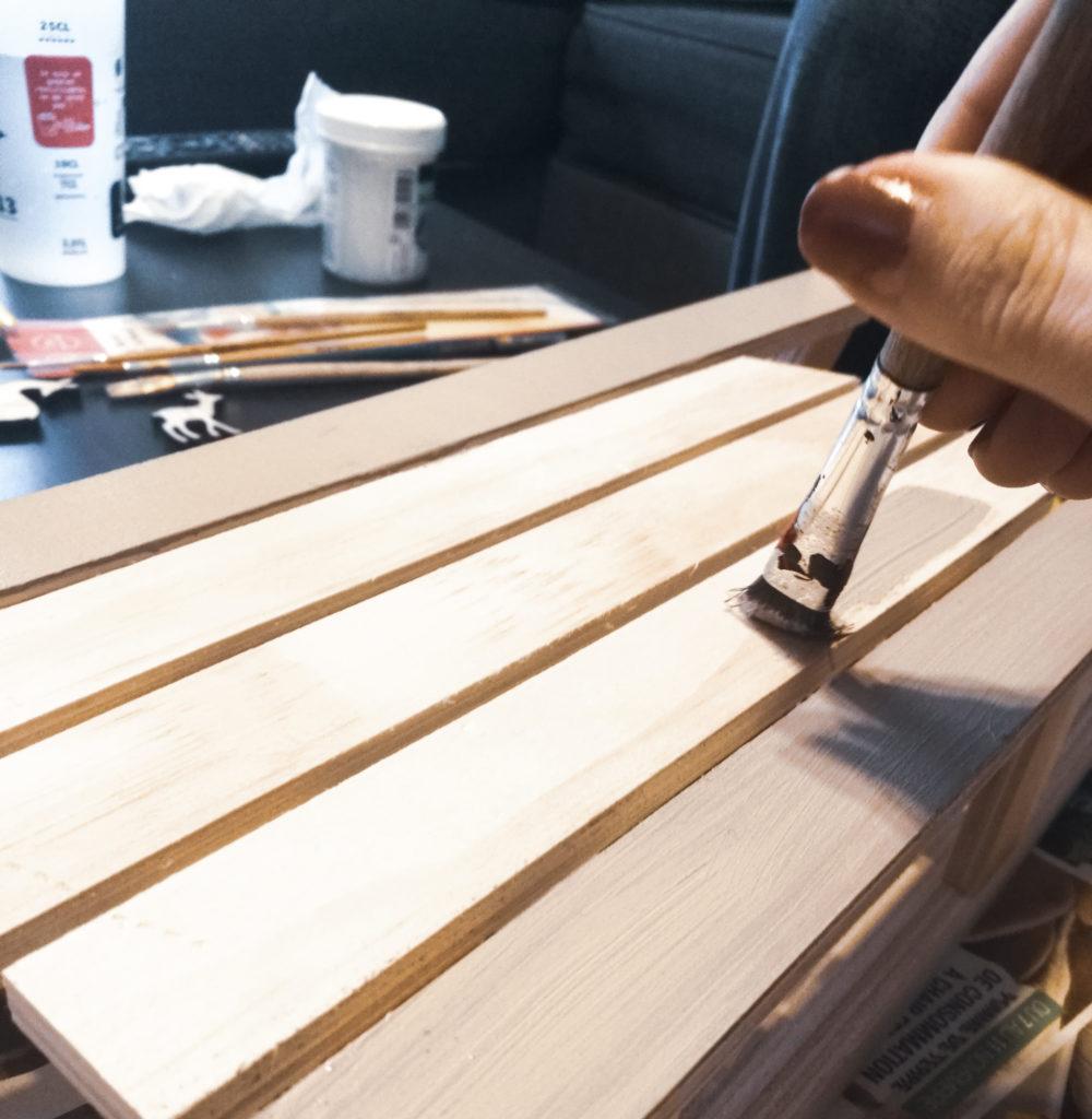 Noel blog décoration diy peinture traineau