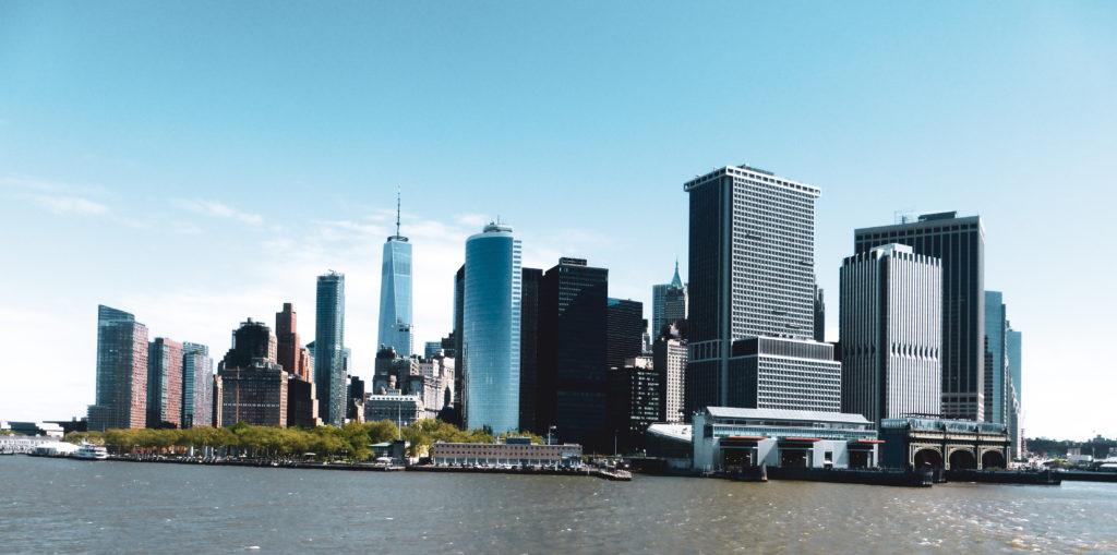 vue sur les buildings depuis hélicoptère new york