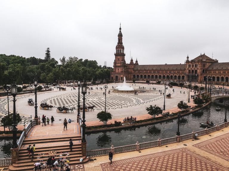 Seville Place de l'Espagne vue depuis balcon